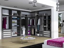 Interior de armario, vestidor, combinando melamina ceniza y blanco