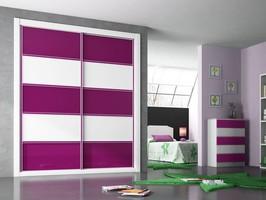 Frente de armario combinando cristal lacado blanco y cristal lacado fucsia