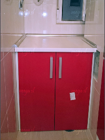 Mueble especial para ocultar la lavadora, en rojo ferrari