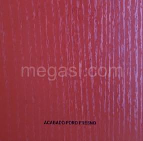 Melamina en rojo, acabado de superficie PORO FRESNO