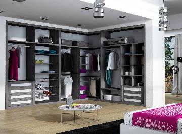 Vestidor de armario, en melamina ceniza y blanco