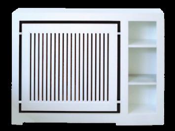 Cubreradiador modern, amedida, lacado en blanco, con baldas
