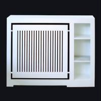 Cubreradiador a medida especial lacado en blanco, con baldas laterales.