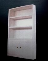 Mueble a medida especial compuesto de una parte baja con dos puertas abatibles y baldas interiores regulares mediante cremallera de taladros.