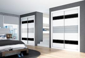 Armario de puertas correderas, blanco con bandas en gris y negro