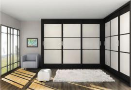 Armario de puertas correderas, modelo Japones en blanco y negro