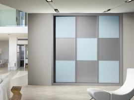Elegante armario modelo Dama, con los cuadros en gris y azul