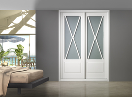Armario empotrado de puertas correderas, lacado en blanco, vitrina modelo Aspa