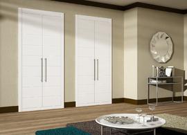 Armario de puertas abatibles, lacado en blanco, fresado mod Mapi