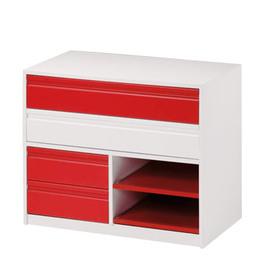Cajonera modelo postformado en blanco y rojo