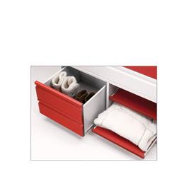 Detalle cajonera modelo postformado en blanco y rojo