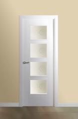 Puerta vidriera lacada en blanco modelo Mara V4
