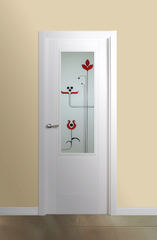 Puerta vidriera lacada en blanco modelo Mara V1
