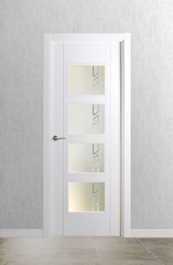 Puerta vidriera lacada en blanco modelo 4.0 V4