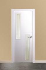 Puerta Vidriera lacada en blanco modelo 1.2 V2 Estria