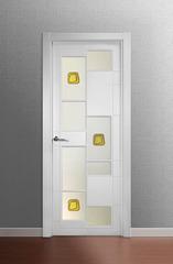 Puerta vidriera lacada en blanco modelo Lac Tetris